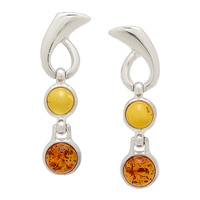 Amber Extraordinaire Sterling Silver Swirl & Swing Earrings