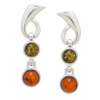 Amber Extraordinaire Sterling Silver Swirl & Swing Earrings