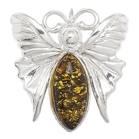 Amber Extraordinaire Sterling Silver Butterfly Pin