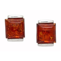 Amber Extraordinaire Sterling Silver Rectangular Stud Earrings