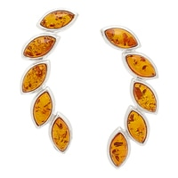 Amber Extraordinaire Sterling Silver Crown of Laurel Stud Earrings