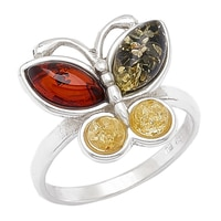 Amber Extraordinaire Sterling Silver Butterfly Ring