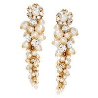 Miriam Haskell Pearl Cluster Drop Earrings