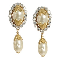 Miriam Haskell Oval Pearl Drop Earrings