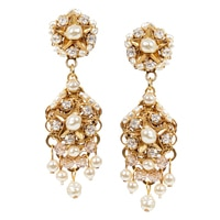Miriam Haskell Pearl Cluster Drop Earrings