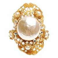 Miriam Haskell Pearl Cocktail Adjustable Ring