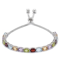 Sterling Silver Gemstone Adjustable Bracelet
