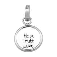 Silver Spectrum Sterling Silver Rhodium Plate Hope Truth Love Disc Charm