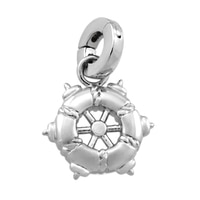 Silver Spectrum Sterling Silver Rhodium Plate Ship Wheel Charm
