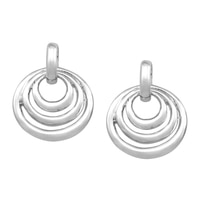 Silver Spectrum Sterling Silver Rhodium Plate Layered Circle Earrings