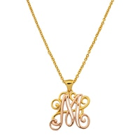 Silver Spectrum Sterling Silver Two Tone Initial Scroll Pendant with Chain
