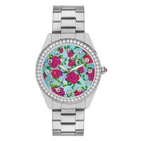 Betsey Johnson Ladies' Silver Tone Multi Flower Bracelet Watch