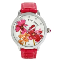Betsey Johnson Ladies' Silver Floral Design Pink Leather Strap Watch