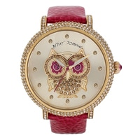 Betsey Johnson Ladies' Owl Pink Strap Watch
