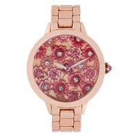 Betsey Johnson Ladies' Rose Gold Tone Pink Flower Bracelet Watch