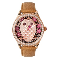 Betsey Johnson Ladies Rose Gold Tone Owl Brown Leather Strap Watch