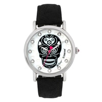 Betsey Johnson Ladies Silver Skull Design Black Leather Strap Watch