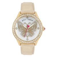 Betsey Johnson Ladies' Yellow Gold Tone Butterfly Gold Leather Strap Watch