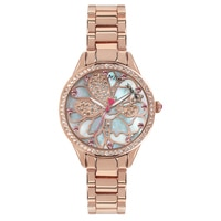 Betsey Johnson Ladies' Rose Gold Tone Floral Design Bracelet Watch