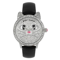 Betsey Johnson Ladies' Silver Gold Plated Cat Black Leather Strap Watch