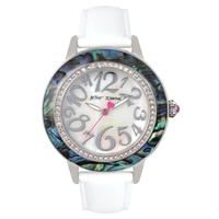 Betsey Johnson Ladies' Silver White Leather Strap Watch