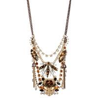 Betsey Johnson Crystal Leopard Head Bib Necklace