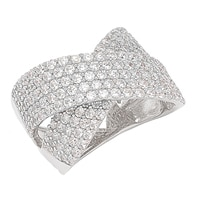 Toscana Diamonelle Collection Sterling Silver Pave Set Crossover Brillante Ring