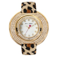 Betsey Johnson Ladies' Yellow Gold Plated Leopard Leather Strap Watch