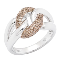 Clarity Diamonds Sterling Silver Sunset Diamond Interlocking Link Ring