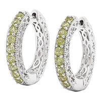 Gem Finds Sterling Silver Gemstone Hoop Earrings