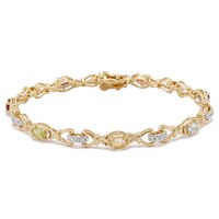 Sterling Silver Yellow Gold Plate Multi Gemstone Bracelet