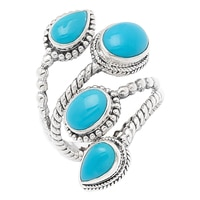 Samuel B. Collection Sterling Silver Sleeping Beauty Turquoise Wrap Ring