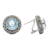 Boutons d'oreille ronds en argent sterling et or jaune 18 ct de la collection Samuel B.