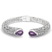 Samuel B. Sterling Silver Amethyst Hinged Bangle