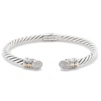 Samuel B. Sterling Silver & 18K Yellow Gold Diamond Cable Bangle