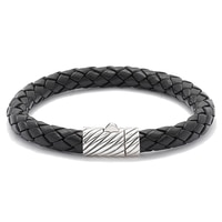 Samuel B. Sterling Silver Black Leather Bracelet