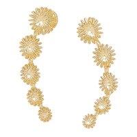 Boucles d'oreille montantes rehaussées de soleils taillés au diamant en or jaune 14 ct de Stefano Oro