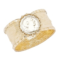 Stefano Oro 14K Yellow Gold Tuscan Coin Shield Ring