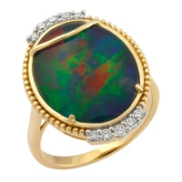 10K Yellow Gold Australian Triplet Opal & Diamond Ring