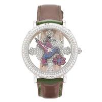 Montre en acier inoxydable à bracelet en cuir de Croton