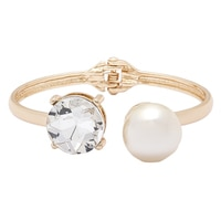 GLAMOUR Crystal & Pearl Hinged Bangle