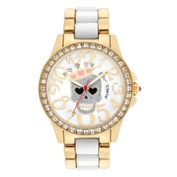 Betsey Johnson Ladies' Yellow Gold Tone Skull Bracelet Watch