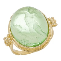 Vicenza Gold by Tagliamonte Sterling Silver & 18K Yellow Gold Plate Cupid Ring (Smooth Cabochon Collection)