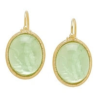 Vicenza Gold by Tagliamonte Sterling Silver & 18K Yellow Gold Plate 3 Graces Earrings (Smooth Cabochon Collection)