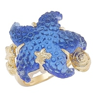 Vicenza Gold Sterling Silver & 18K Yellow Gold Plate Sea Life Ring