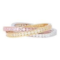 Bague tricolore à anneaux entrecroisés sur argent sterling de Toscana Diamonelle