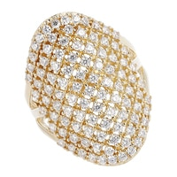 Toscana Diamonelle Sterling Silver 14K Yellow Gold Plated Tattoo Design Ring