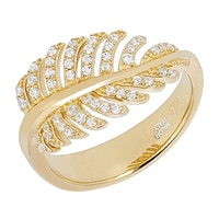 Toscana Diamonelle Sterling Silver 14K Yellow Gold Plated Leaf Ring