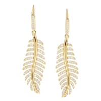 Toscana Diamonelle Sterling Silver 14K Yellow Gold Plated Leaf Drop Earrings