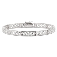 Silver Spectrum Sterling Silver Diamond Cut Link Bracelet